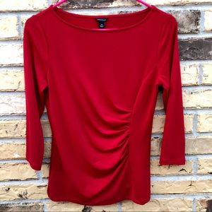 Ann Taylor Ruched Front 3/4 Sleeve Blouse XS